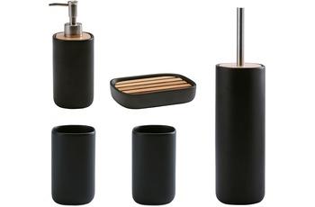Aquanova Badaccessoire Set OSCAR, schwarz (bestehend aus WC-Garnitur, Seifenspender, Kosmetikschale, 2x Becher)