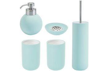 Aquanova Badaccessoires Set CLEO mint (bestehend aus WC-Garnitur, Seifenspender, Kosmetikschale und 2x Zahnputzbecher)