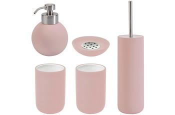 Aquanova Badaccessoires Set CLEO pastellroza (bestehend aus WC-Garnitur, Seifenspender, Kosmetikschale und 2x Zahnputzbecher)