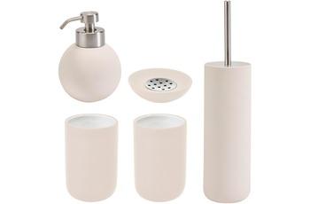 Aquanova Badaccessoires Set CLEO sorbet (bestehend aus WC-Garnitur, Seifenspender, Kosmetikschale und 2x Zahnputzbecher)
