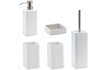 Aquanova Badaccessoires Set Ona weiss (bestehend aus WC-Garnitur, Seifenspender, Kosmetikschale und 2x Zahnputzbecher)