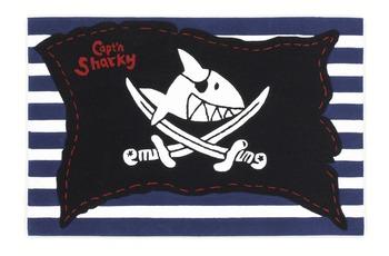 Capt'n Sharky Kinder-Teppich, Käpt'n Sharky und die Piratenflagge, Öko-Tex zertifiziert