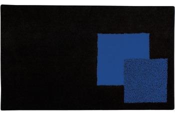 clarissa , Badteppich, Boston, schwarz/ royalblau, 18 mm Florhöhe, mit Wellenmuster