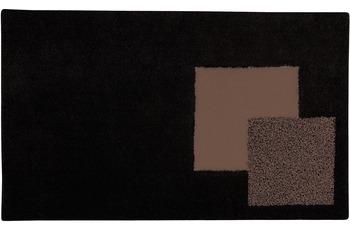 clarissa , Badteppich, Boston, schwarz/ torf, 18 mm Florhöhe, mit Wellenmuster