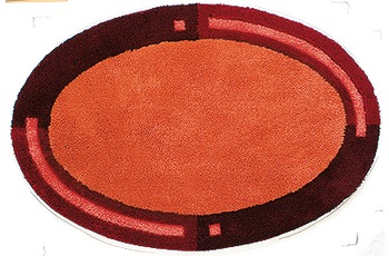 clarissa , Badematte, Imola, terracotta/ bordeaux-dunkel, oval, 25 mm Florhöhe, Öko-Tex zertifiziert