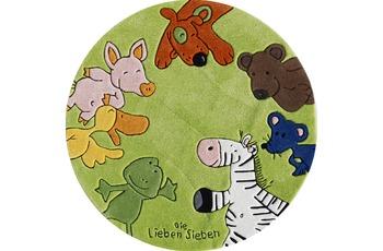 Die Lieben Sieben Kinder-Teppich, rund, grün, Öko-Tex zertifiziert
