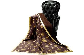 GLÖÖCKLER by KBT Wohndecke Krone, braun mit goldfarbenden Initialen und Kronen 150x200cm