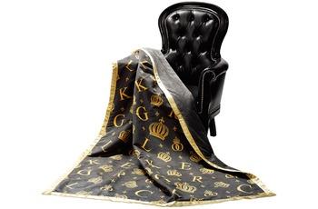 GLÖÖCKLER by KBT Wohndecke Krone, schwarz mit goldfarbenden Initialen und Kronen 150x200cm