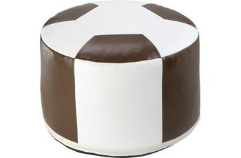 linke licardo Fussball-Sitzkissen, Kunstleder weiss/ braun Ø 50/ 34 cm