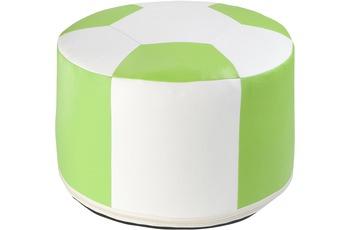 linke licardo Fussball-Sitzkissen, Kunstleder weiss/ grün Ø 50/ 34 cm