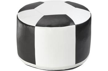 linke licardo Fussball-Sitzkissen, Kunstleder weiss/ schwarz Ø 50/ 34 cm