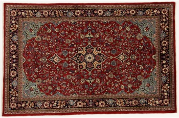 Oriental Collection Teppich, Sarough, Perser-Teppich, handgeknüpft, reine Schurwolle, florale Ornamentik, 130 x 203 cm