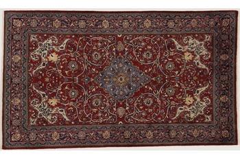 Oriental Collection Teppich, Sarough, Perser-Teppich, handgeknüpft, reine Schurwolle, florale Ornamentik, 135 x 230 cm