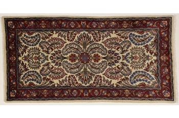 Oriental Collection Teppich, Sarough, Perser-Teppich, handgeknüpft, reine Schurwolle, florale Ornamentik, 70 x 140 cm