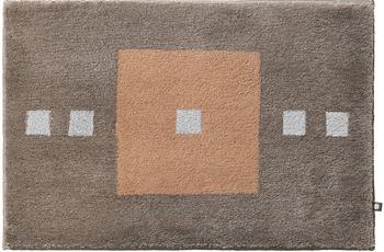 Rhomtuft Badteppich CUBUS taupe/ eiche/ edelstahl 65 cm x 110 cm