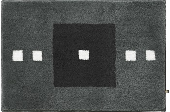 Rhomtuft Badteppich CUBUS zink/ kaviar/ ecru 65 cm x 110 cm