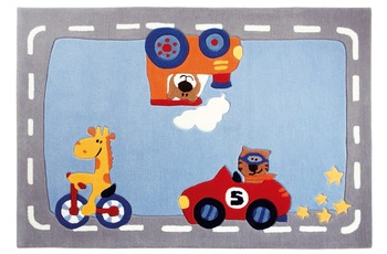 Sigikid Kinder-Teppich Happy Street Traffic SK-3346-01 blau 120 x 180 cm