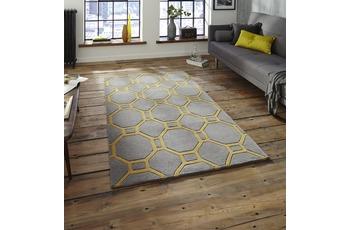 Think Rugs Teppich Hong Kong 4338 Grau/ Gelb