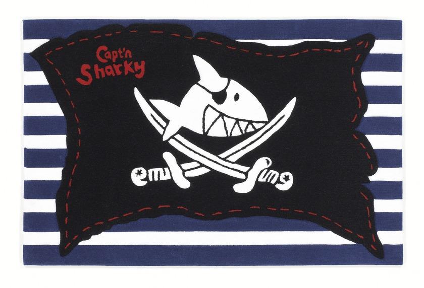 Capt\'n Sharky Kinder-Teppich, K�pt�n Sharky und die Piratenflagge, �ko-Tex zertifiziert