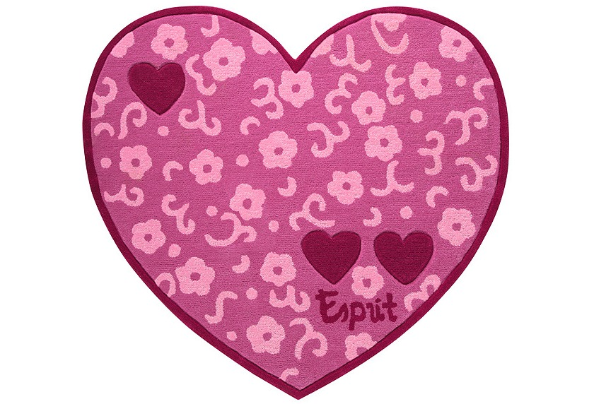 ESPRIT Kinder-Teppich, Heartbreaker ESP-3338-01 rosa/pink, Öko-Tex 100 zertifiziert