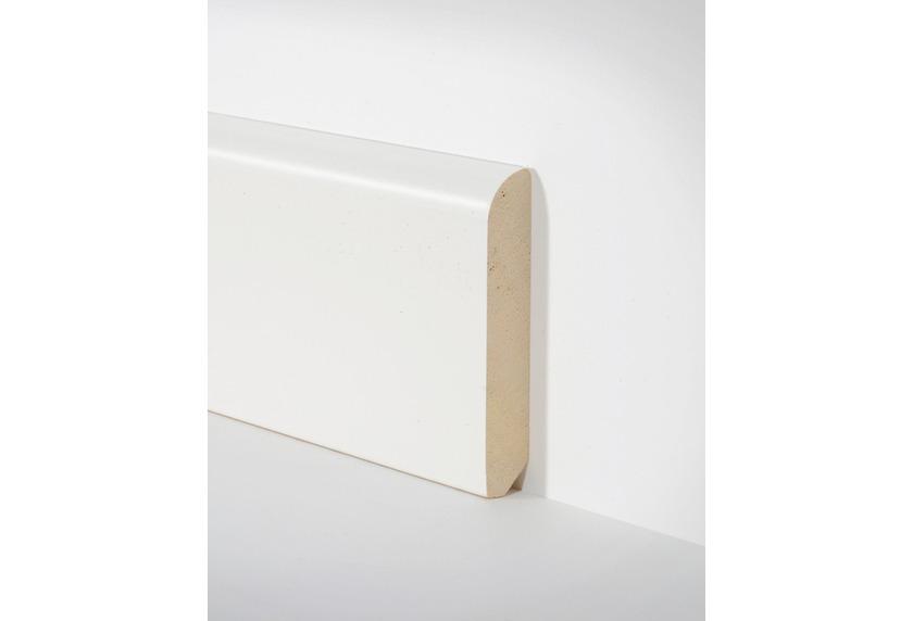 hometrend holz sockelleiste 10x58 mm runde kante weiss lackiert 250 cm paketinhalt 2 4 m. Black Bedroom Furniture Sets. Home Design Ideas