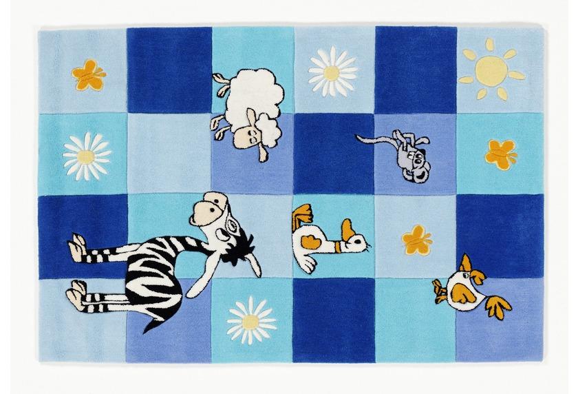 Kinderteppich blau  KiYou Kinderteppich blaue Kästchen BC4488-10 Tiere Zoo Teppich ...