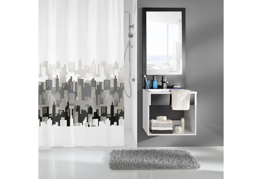 kleine wolke duschvorhang city schwarz wei 180 x 200 cm breite x h he badaccessoires. Black Bedroom Furniture Sets. Home Design Ideas