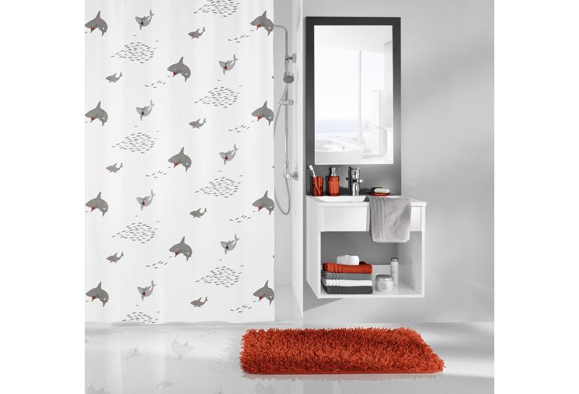 kleine wolke duschvorhang sharky schwarz wei 180 x 200 cm breite x h he badaccessoires. Black Bedroom Furniture Sets. Home Design Ideas