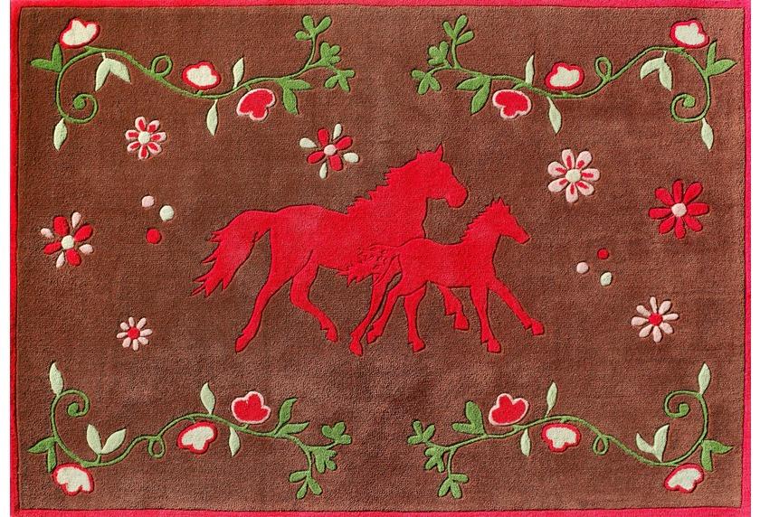 Pferdefreunde Pferde Teppich braun quer Blumenwiese