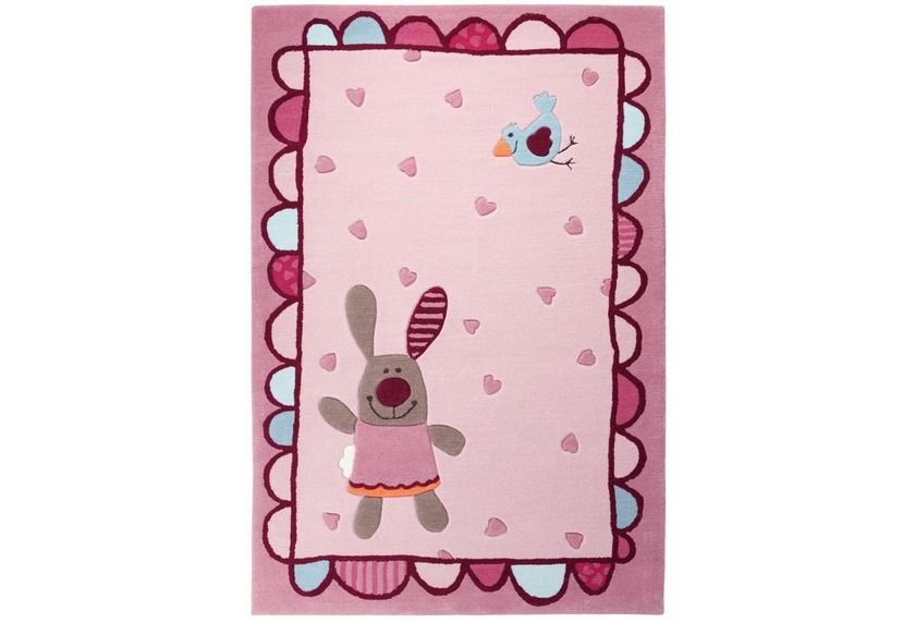 Sigikid Kinder Teppich, 3 Happy Friends, Hearts SK-3350-01 rosa/pink