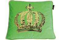 GLÖÖCKLER by KBT Zierkissen, grün mit goldfarbender Paillettenkrone 50x50cm