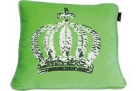 GLÖÖCKLER by KBT Zierkissen, grün mit silberfarbender Paillettenkrone 50x50cm
