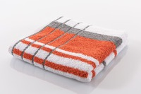 Gözze Frottierserie Berlin Streifen weiß mit orangen Streifen