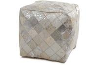 Kayoom Lavish Lederpouf 210 Grau /  Silber 45 x 45 cm