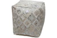Kayoom Spark Lederpouf 100 Grau /  Silber 45 x 45 cm
