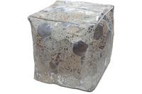 Kayoom Spark Lederpouf 200 Grau /  Silber 45 x 45 cm