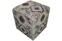 Kayoom Pouf Solitaire 210 Grau 42 cm (B) x 42 cm (H) x 45 cm (T)