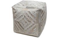 Kayoom Leder-Teppich Spark Pouf 400 Elfenbein /  Gold 45cm x 45cm