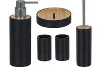Kleine Wolke Badaccessoires Set Kyoto Schwarz (Seifenspender, WC-Garnitur, Kosmetikablage, 2x Becher)