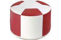 linke licardo Fussball-Sitzkissen, Kunstleder weiss/ rot Ø 50/ 34 cm