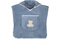 "Vossen Bademantel ""Teddy Kinderponcho"" smoke blue one size"