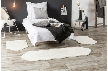 Andiamo Teppich Lambskin, weiß 2x 55x80 cm + 1x 55x160 cm Bettumrandung