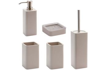 Aquanova Badaccessoires Set Ona grau-beige (bestehend aus WC-Garnitur, Seifenspender, Kosmetikschale und 2x Zahnputzbecher)