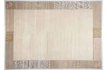 THEKO Nepalteppich Mostar 1033, Bordüre, natural grau 120cm x 180cm