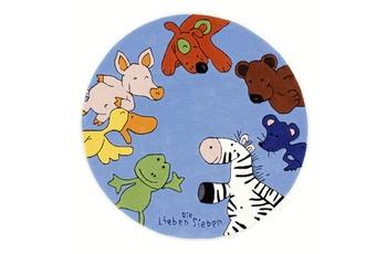 Die Lieben Sieben Kinder-Teppich, rund blau, Öko-Tex zertifiziert
