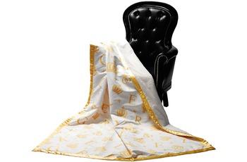 GLÖÖCKLER by KBT Wohndecke Krone, beige mit goldfarbenden Initialen und Kronen 150x200cm