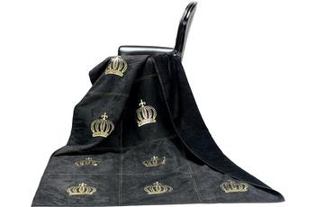 GLÖÖCKLER by KBT Wohndecke Royal, schwarz mit goldfarbender Krone 150x200cm