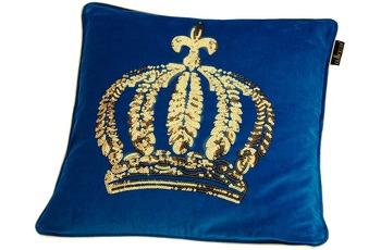 GLÖÖCKLER by KBT Zierkissen, blau mit goldfarbender Paillettenkrone 50x50cm