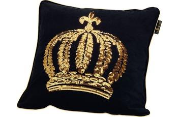 GLÖÖCKLER by KBT Zierkissen, schwarz mit goldfarbender Paillettenkrone 50x50cm