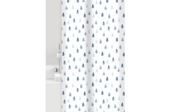 GRUND Duschvorhang Drops weiß/ blau 180x200 cm